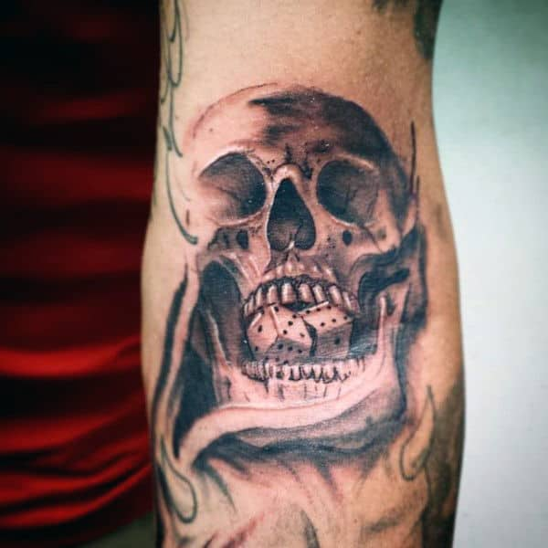 Male Skull Elbow Tattoos With Dice