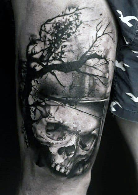 Male Skull Tree Tattoo Ideas