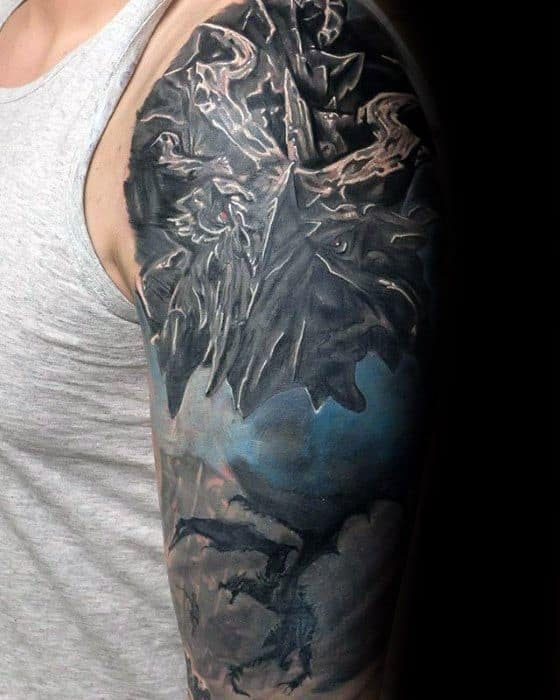 Male Skyrim Tattoo Ideas Half Sleeve