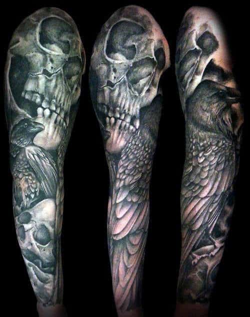 Male Sleeve Tattoos Of Skulls