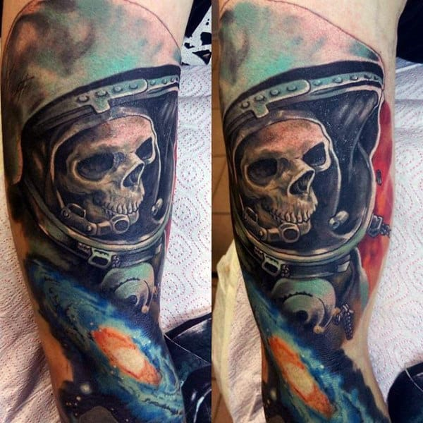 Male Sleeves Eerie Astro Skull Tattoo