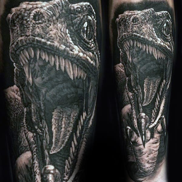 Male Sleeves Prehistoric Dinosaur Tattoo