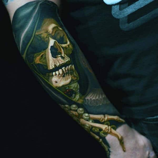 Male Sleeves Realistic Skull With Pearls Tattoo