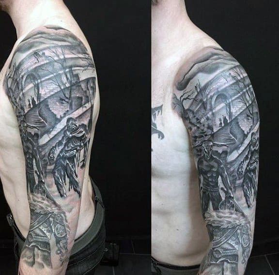 Male Sleeves Warriors In Battle Stencil Tattoo