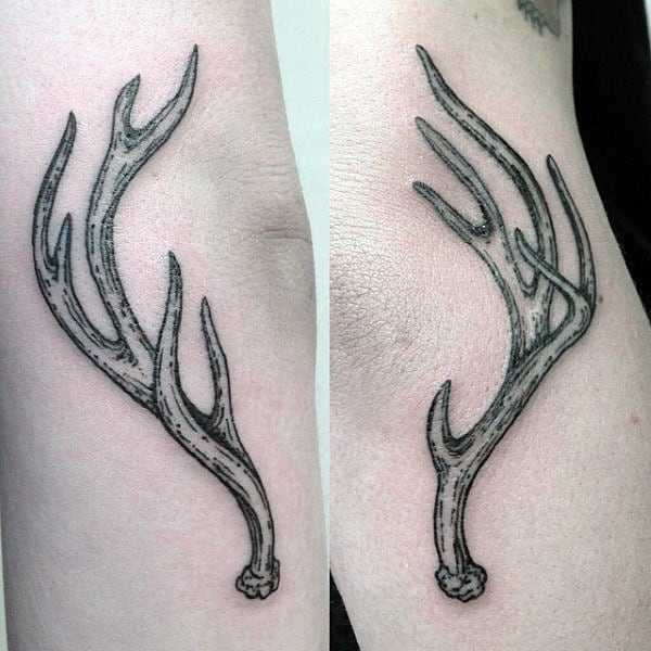 Male Small Antler Tattoo Designs