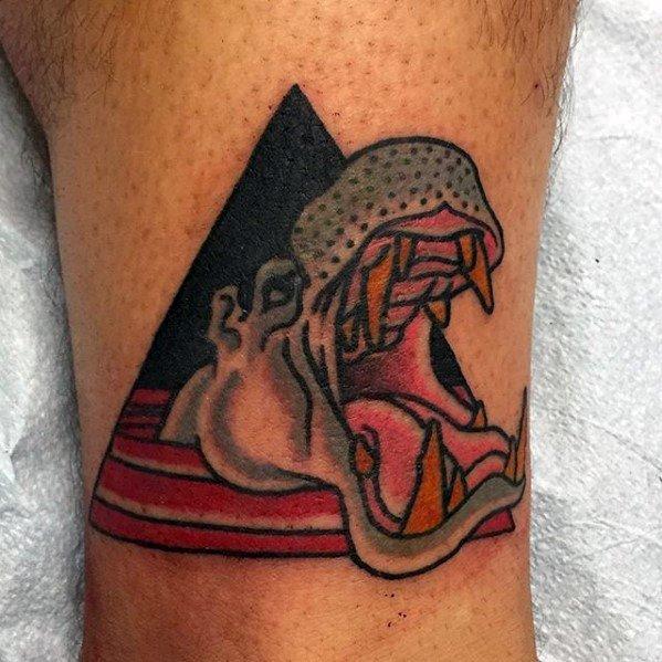 Male Small Triangle Leg Hippo Tattoo Ideas
