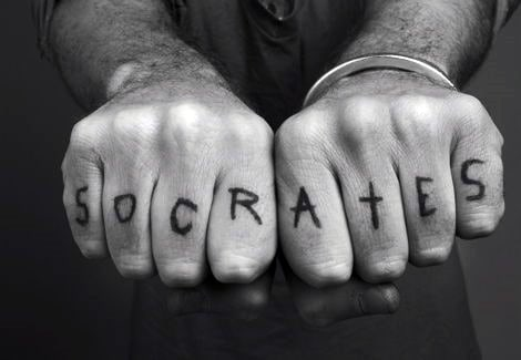 Male Socrates Word Fingers Tattoo Design Inspiration
