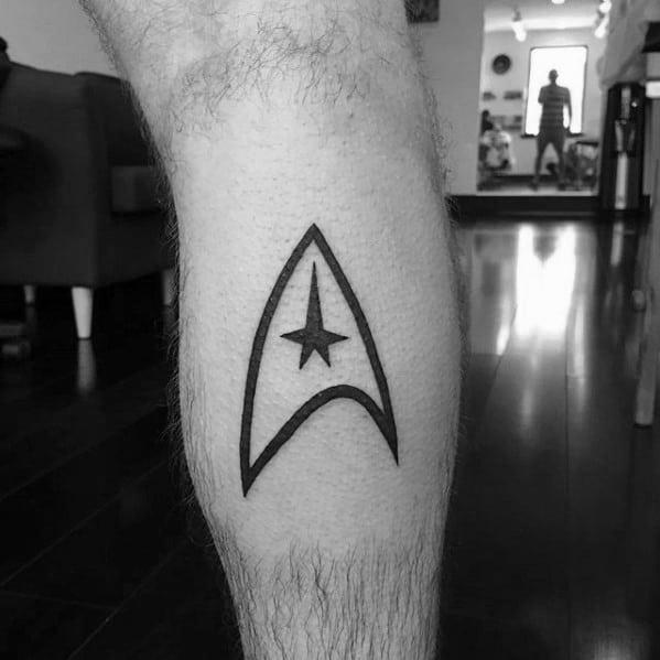 Male Star Trek Tattoo Simple Starfleet Insignia Design Inspiration On Leg Calf