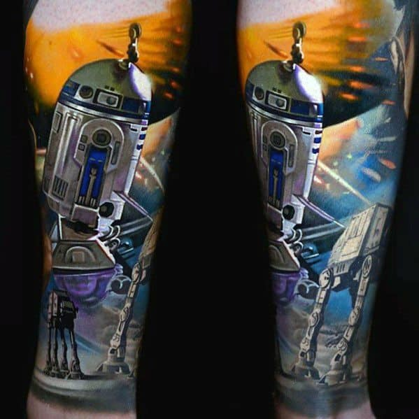 Male Star Wars Leg Sleeve Tattoo With Epic Design