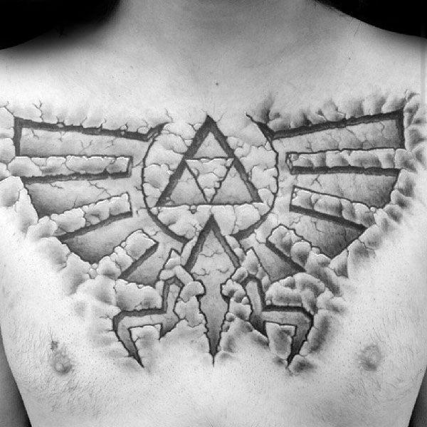 Male Stone Symbol Chest Tatto Of Legend Of Zelda Triforce