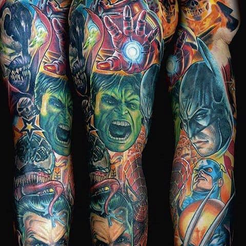 Male Stunning Hulk Tattoo Full Sleeves