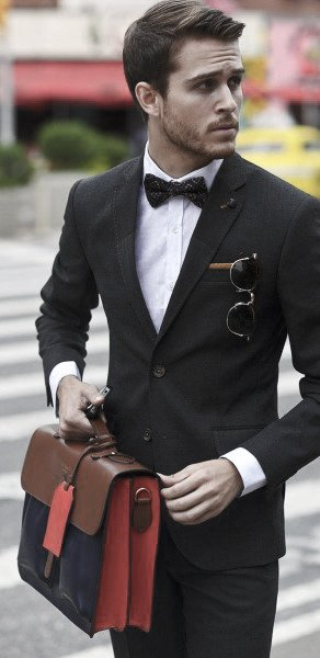 Male Style Black Suits With Bow Tie