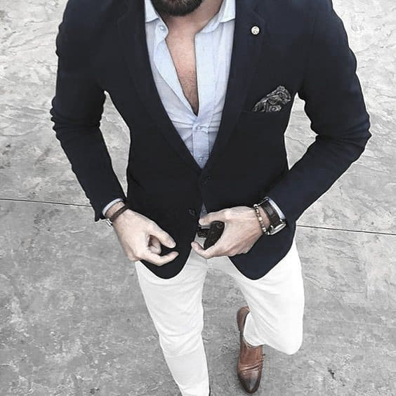 Male Style Ideas What To Wear With White Jeans Properly Navy Blazer Dress Shirt With No Tie