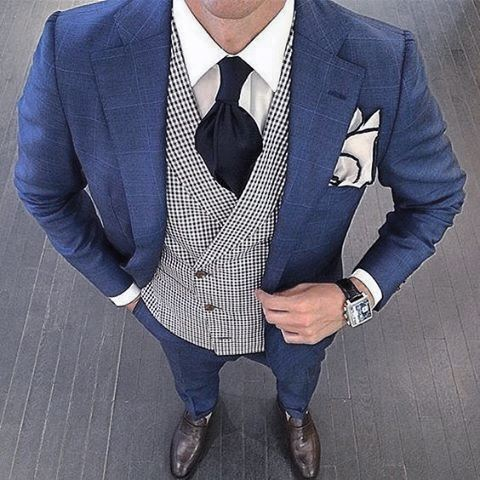 Male Style Navy Blue Suit Brown Shoes