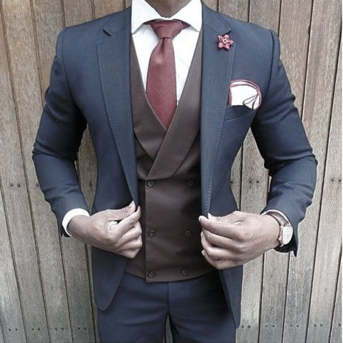 Male Style Navy Blue Suits Red Tie With Brown Vest