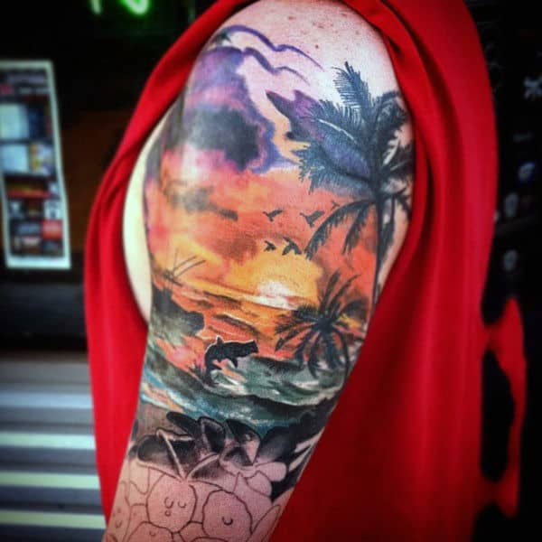 Male Stylish Palm Beach Upper Arm Sunset Tattoo