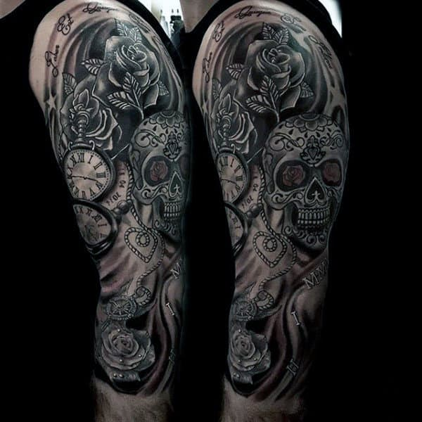 Male Sugar Skull Tattoo Full Arm Sleeve Design