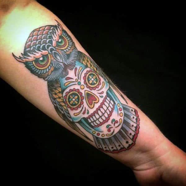 Male Sugar Skull Tattoo On Inner Forearm With Old School Owl