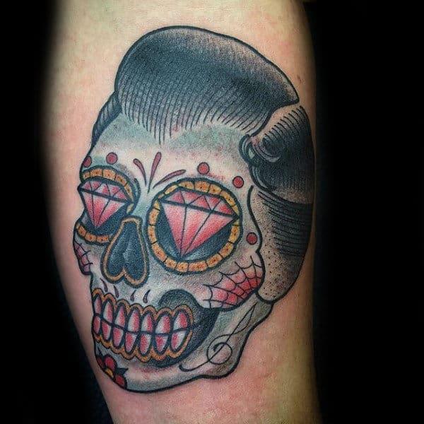 Male Sugar Skull Tattoos Old School Design With Diamond Eyes