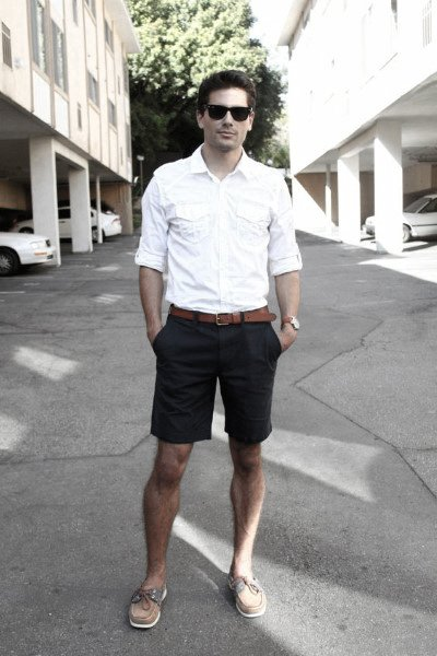 Male Summer Outfits Styles White Dress Shirt Navy Shorts