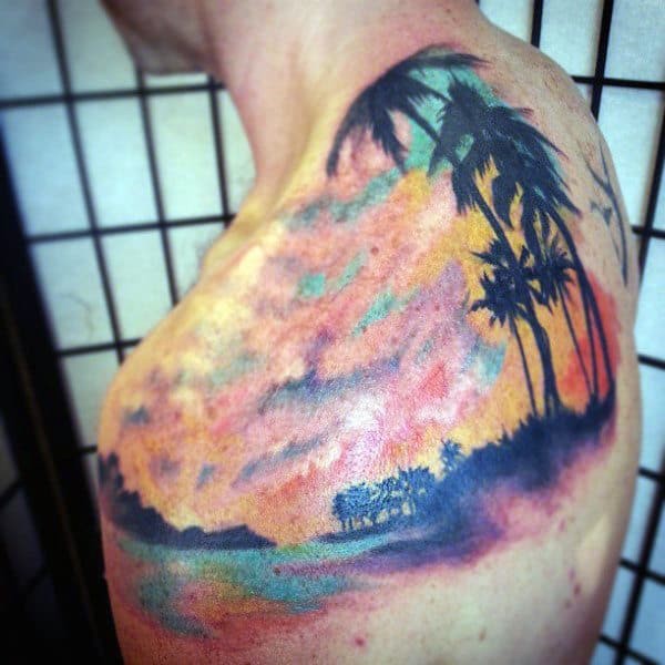 Male Sunset Tattoo Of Tropical Beach On Back