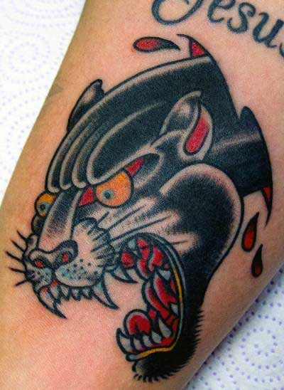 Male Tattoo Arm Panther Old School