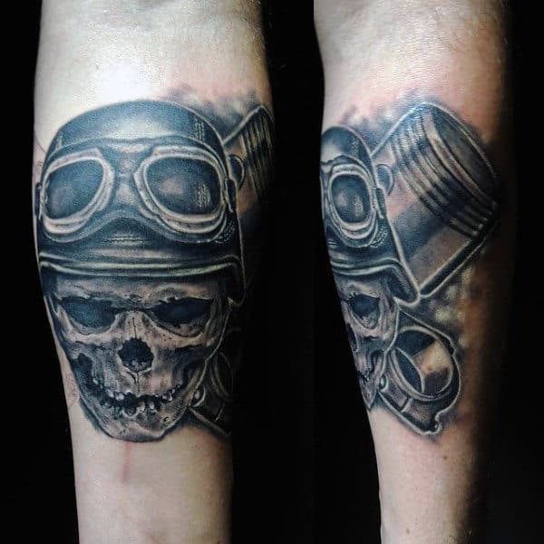 Male Tattoo Designs With Pilot Skeleton Piston