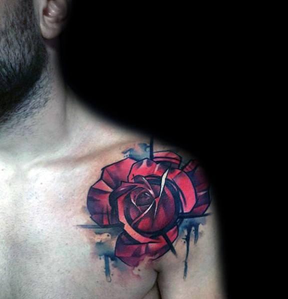 Male Tattoo Ideas Badass Rose Flower Themed