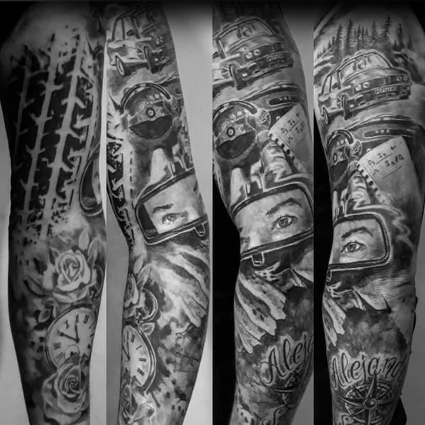 Male Tattoo Ideas Bmw Themed Full Arm Sleeve