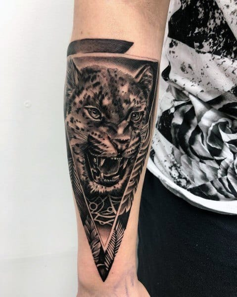 Male Tattoo Ideas Cat Themed On Forearm
