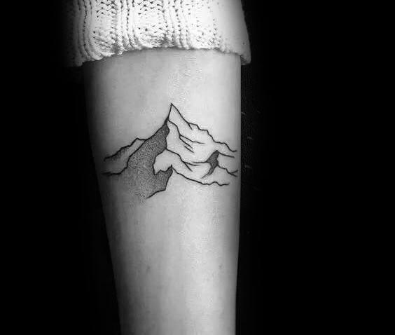 Male Tattoo Ideas Minimalist Mountain Themed