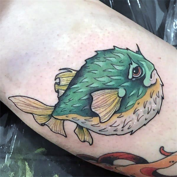 Male Tattoo Ideas Puffer Fish Themed