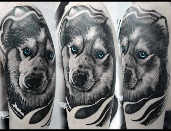 Male Tattoo Ideas Siberian Husky Themed