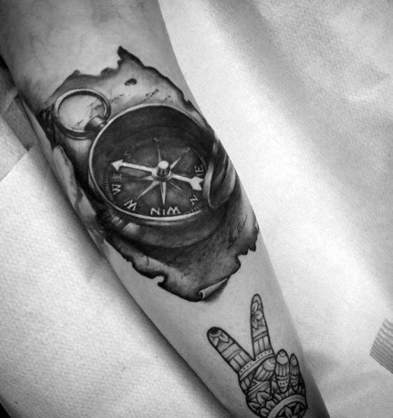 Male Tattoo Ideas Small Compass Themed