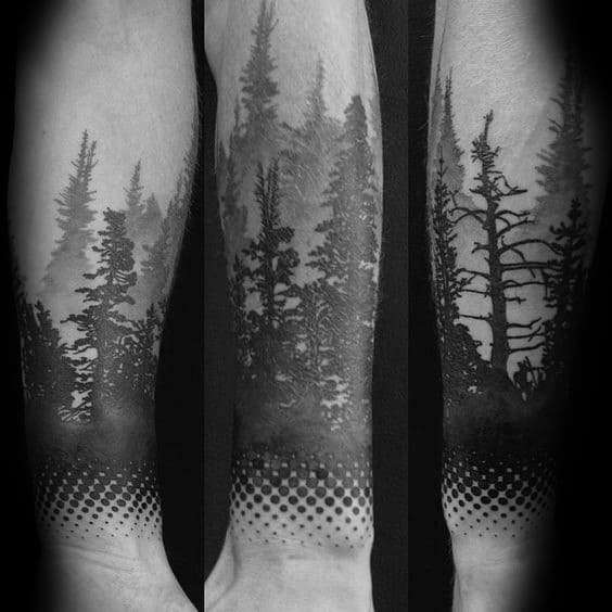 Male Tattoo Ideas Tree Line Themed