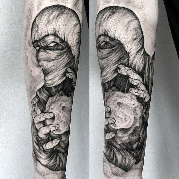 Male Tattoo On Forearm With Black And Grey Shaded Gamer Design