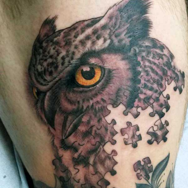 Male Tattoo Puzzles Of Owl