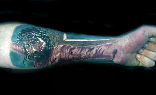 Male Tattoo With 3d Jesus Design On Inner Forearm Optical Illusion