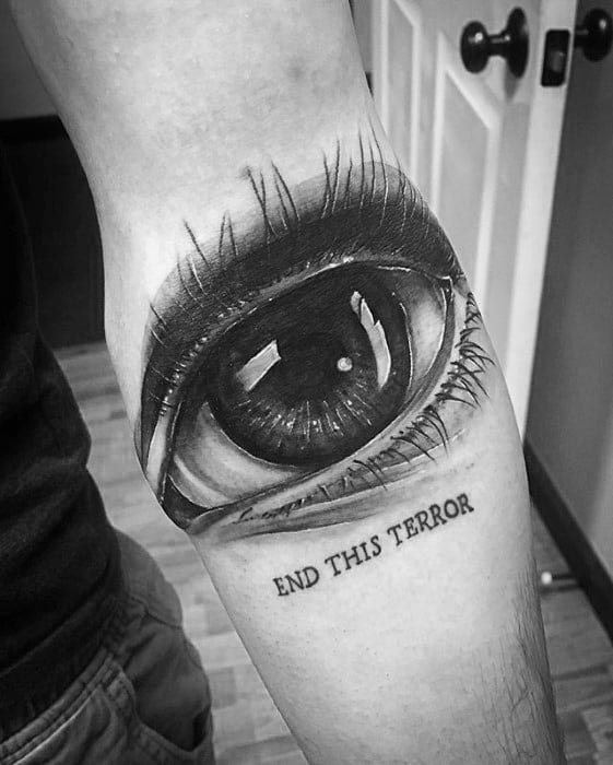 Male Tattoo With 3d Realistic Eye Ditch Design