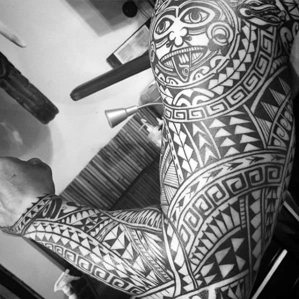 Male Tattoo With Awesome Tribal Hawaiian Design Full Arm Sleeve