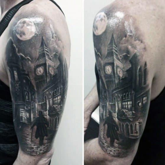 Male Tattoo With Big Ben Design