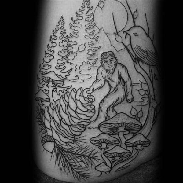 Male Tattoo With Bigfoot Design