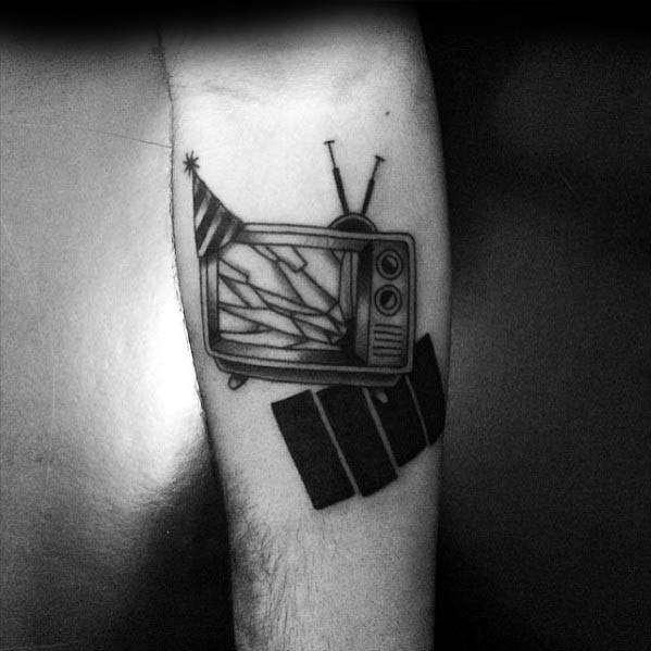 Male Tattoo With Black Flag Design