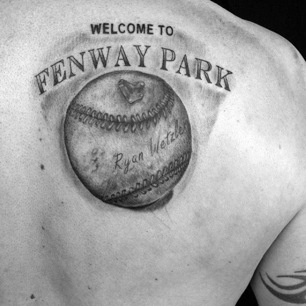 Male Tattoo With Boston Red Sox Design Fenway Park Baseball On Shoulder Blade
