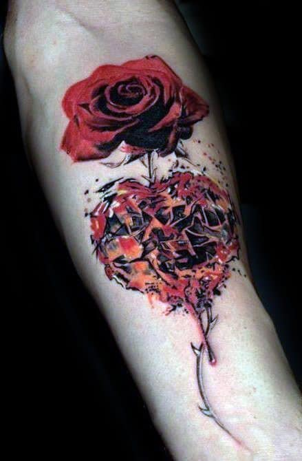 Male Tattoo With Broken Heart And Rose Flower Design On Inner Forearm