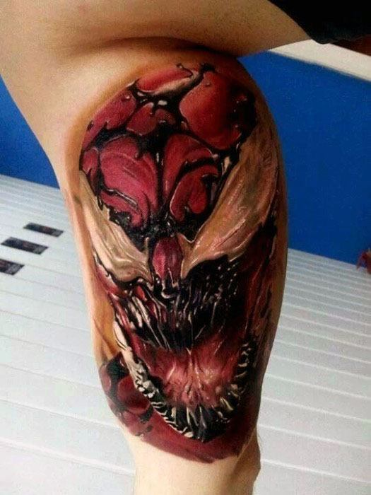 Male Tattoo With Carnage Design 3d Inner Arm Bicep