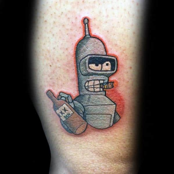 Male Tattoo With Cartoon Design