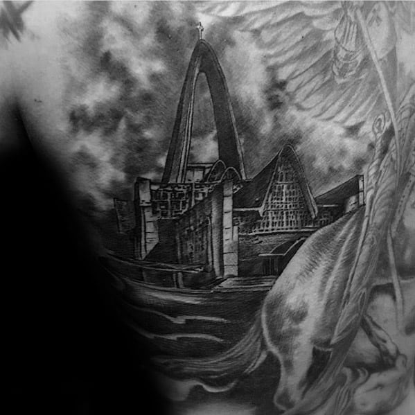 Male Tattoo With Cathedral Design