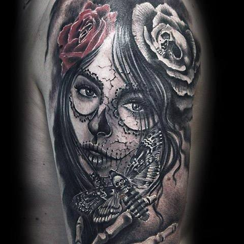 Male Tattoo With Catrina Design