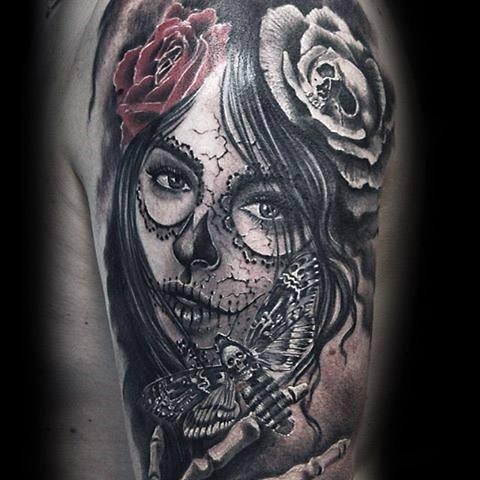 Male Tattoo With Catrina Design